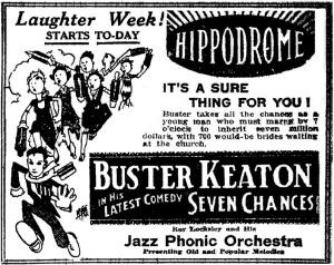 BusterKeatonSevenChancespremieredOctober1927SheasHippodromesmall